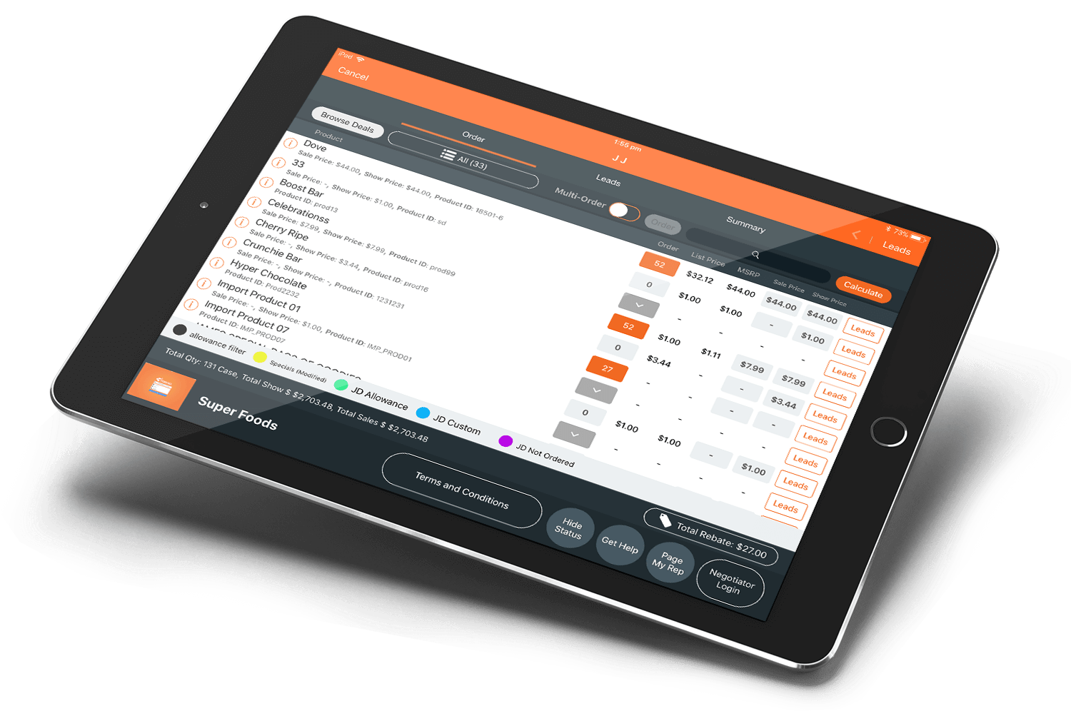 Sell better with Perenso's B2B sales platform in the field, at your trade show, or at your virtual event.