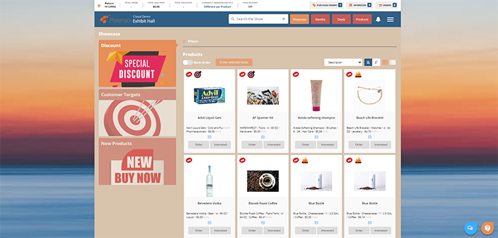 Showcase items and deals to promote new, branded, or deep discount products in the virtual exhibit hall to get more attention on those items and increase sales.